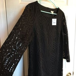 Brand new! J. Crew Black Crocheted Dress Sz 12